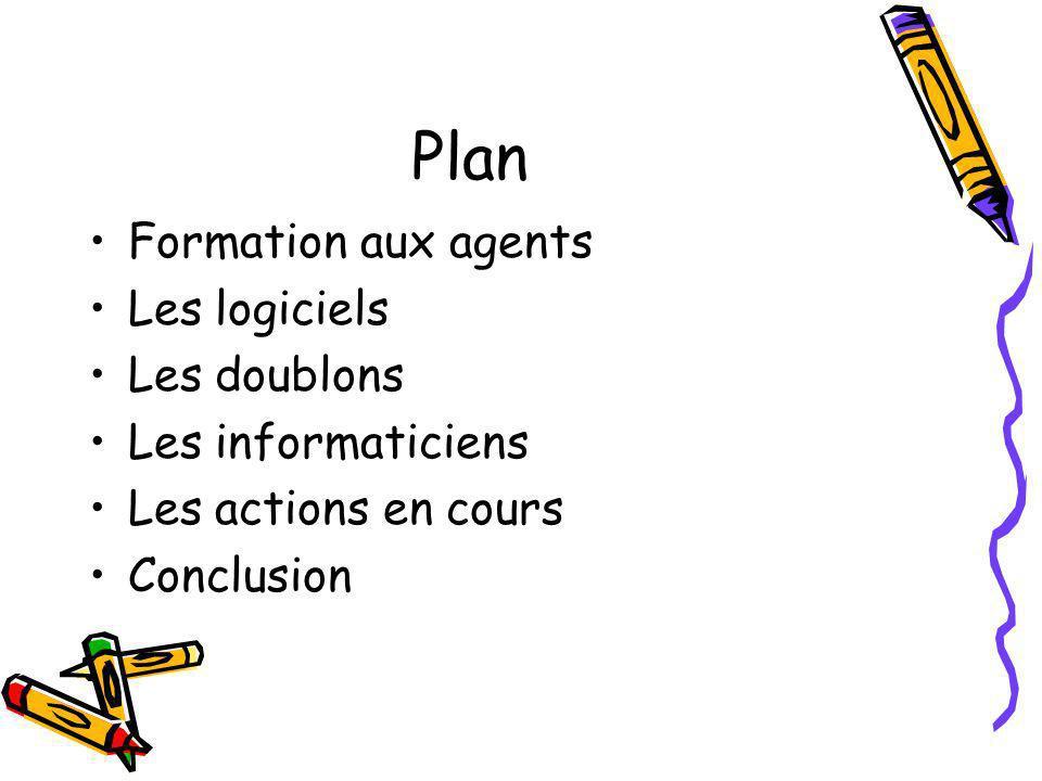 Plan Formation aux agents Les logiciels Les doublons