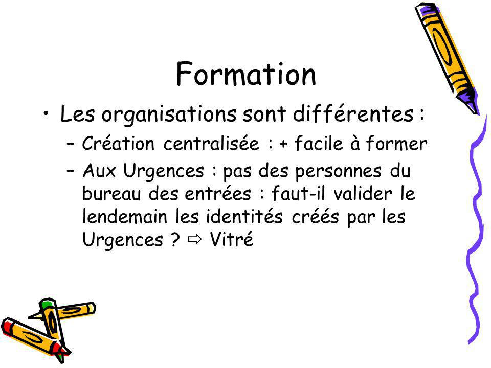 Formation Les organisations sont différentes :