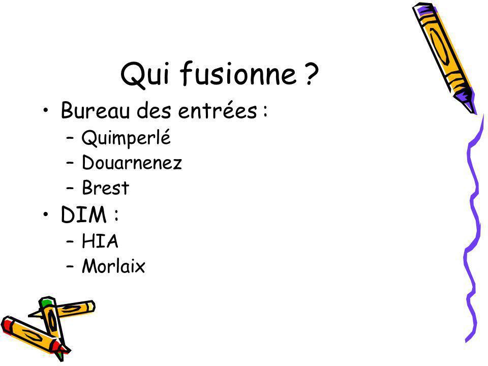 Qui fusionne Bureau des entrées : DIM : Quimperlé Douarnenez Brest