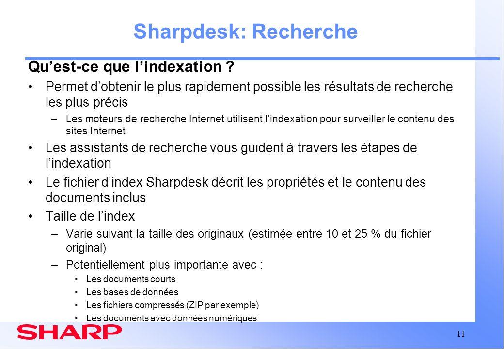 Sharpdesk: Recherche Qu'est-ce que l'indexation