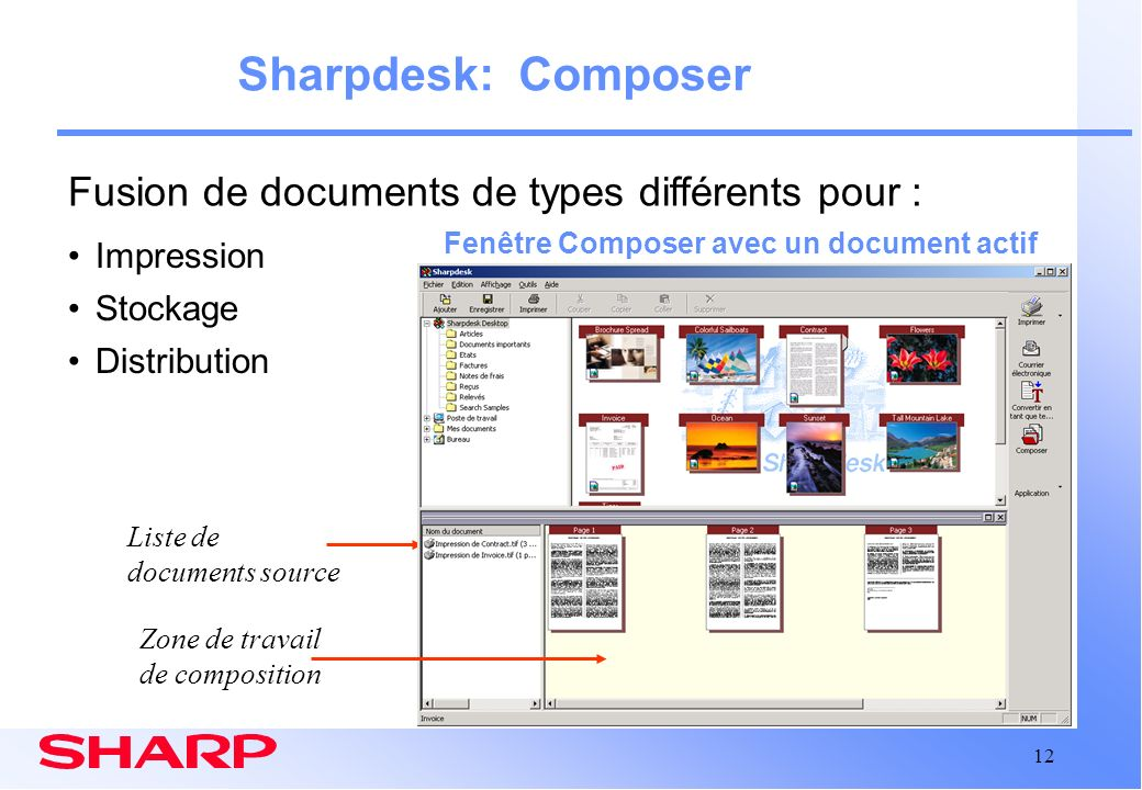 Sharpdesk: Composer Fusion de documents de types différents pour :