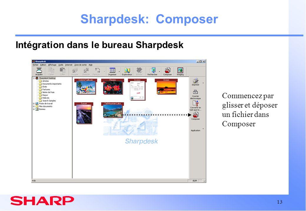 Sharpdesk: Composer Intégration dans le bureau Sharpdesk
