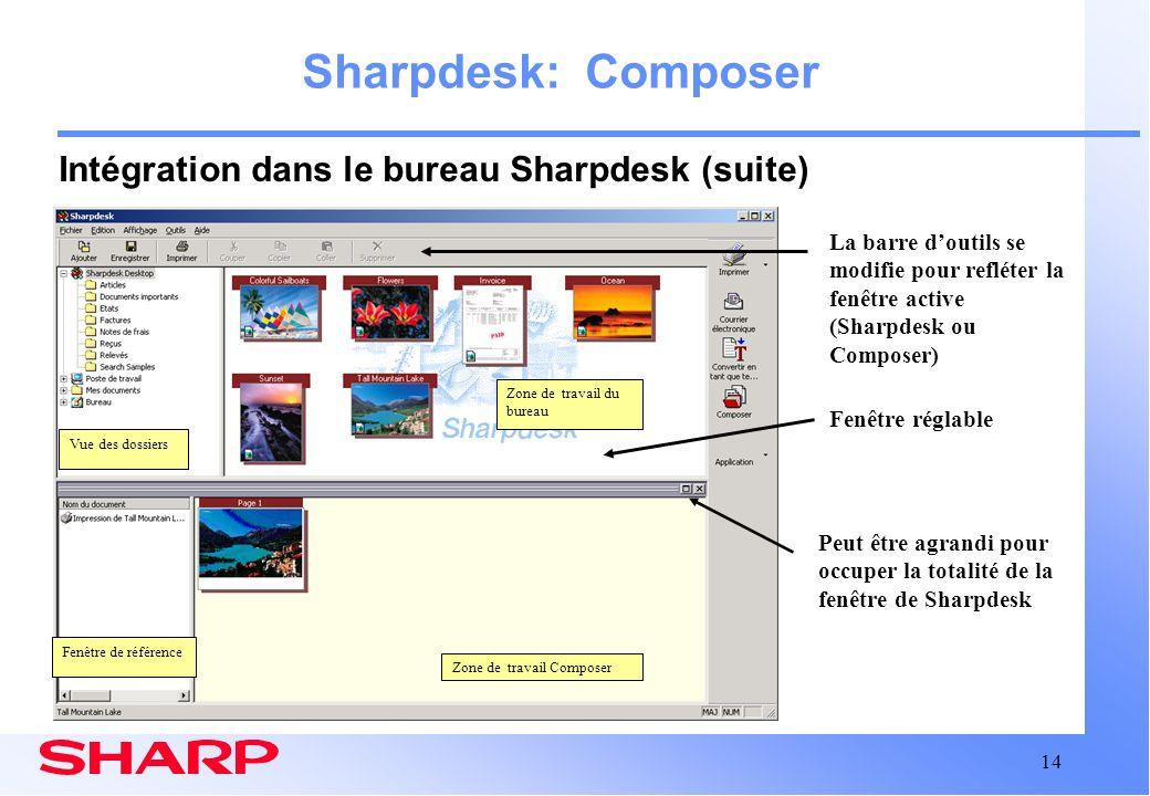 Sharpdesk: Composer Intégration dans le bureau Sharpdesk (suite)