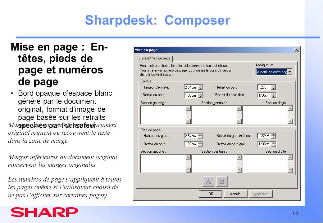 Sharpdesk: Composer Mise en page : En-têtes, pieds de page et numéros de page.