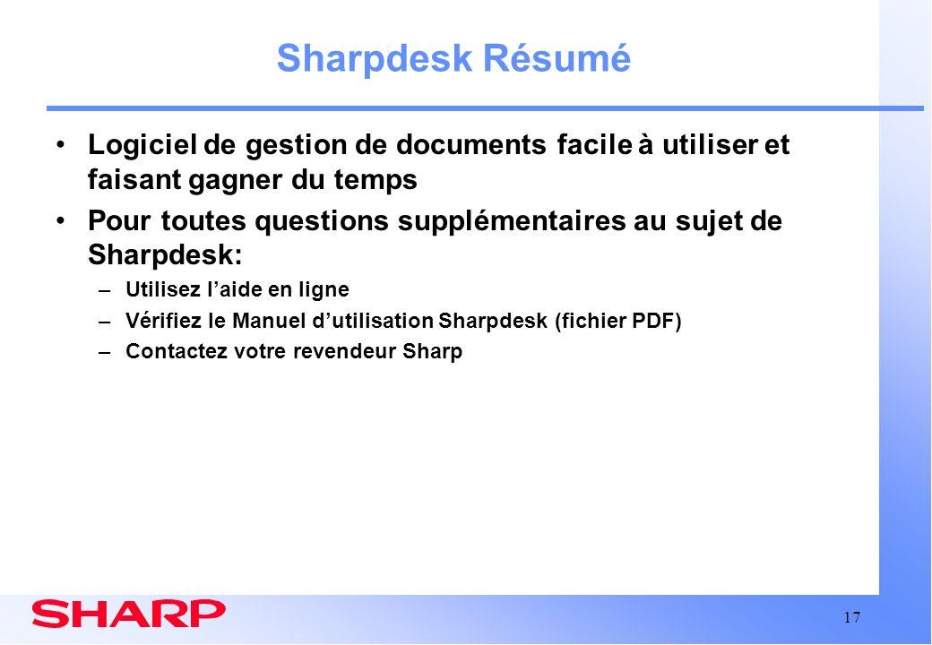 Sharpdesk Résumé Logiciel de gestion de documents facile à utiliser et faisant gagner du temps.