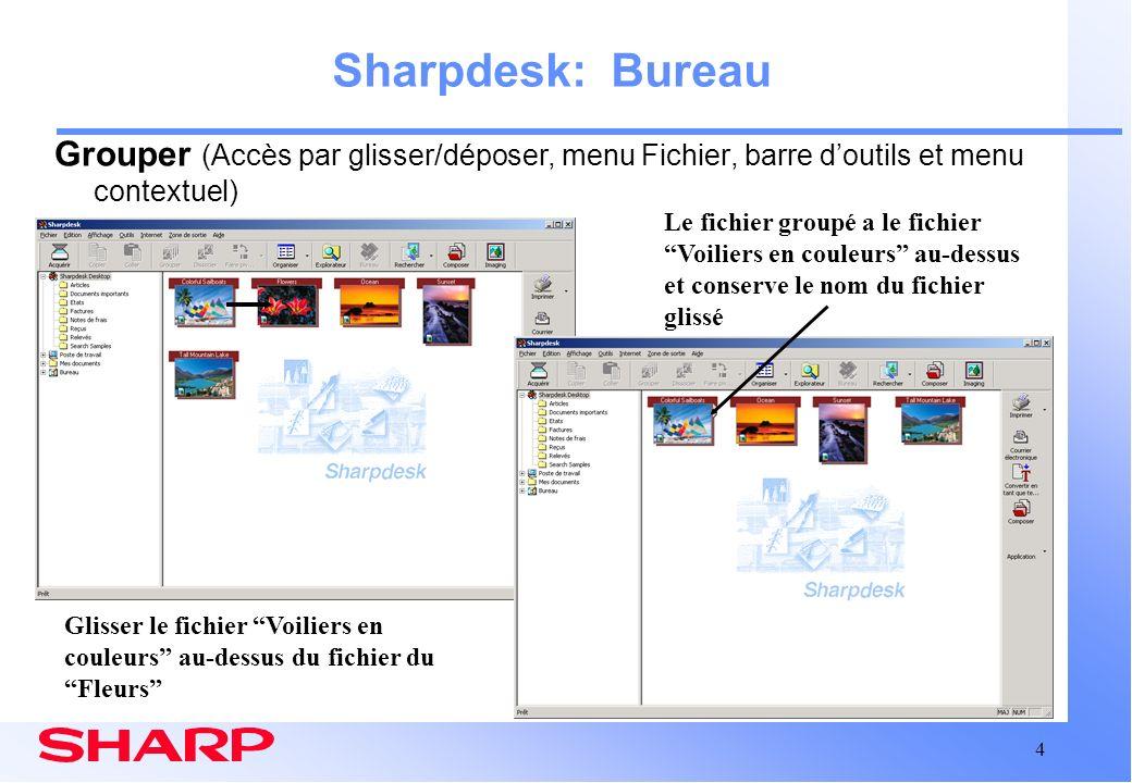 Sharpdesk: Bureau Grouper (Accès par glisser/déposer, menu Fichier, barre d'outils et menu contextuel)