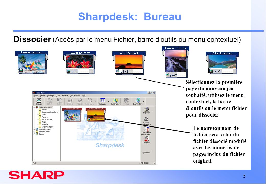 Sharpdesk: Bureau Dissocier (Accès par le menu Fichier, barre d'outils ou menu contextuel)