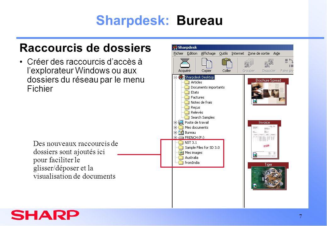 Sharpdesk: Bureau Raccourcis de dossiers