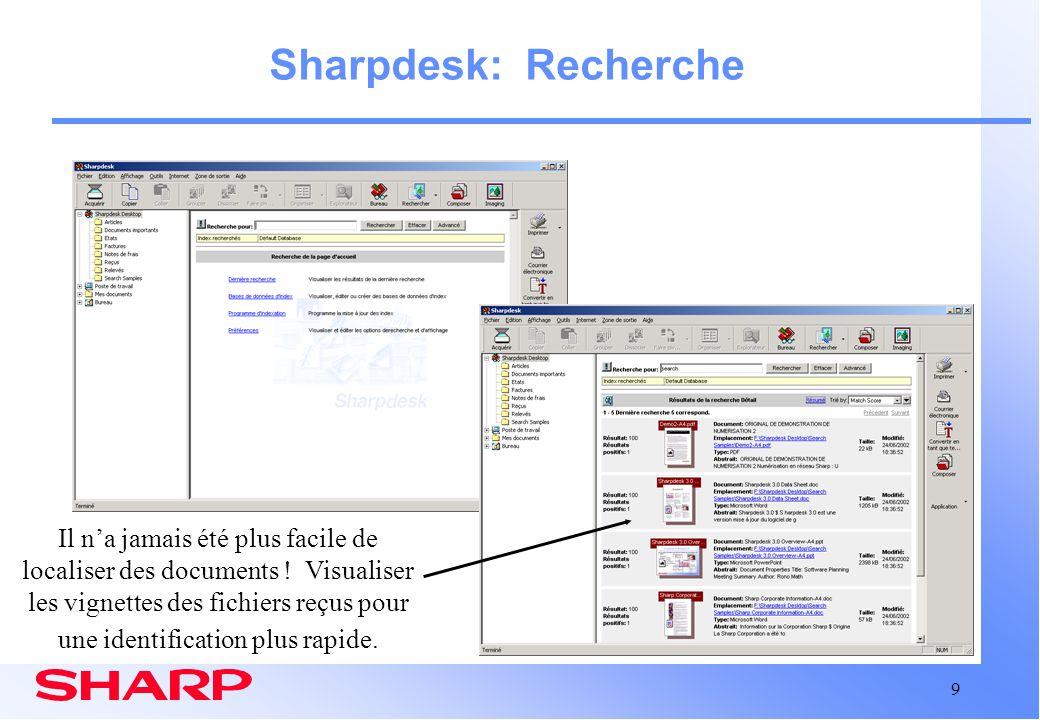 Sharpdesk: Recherche