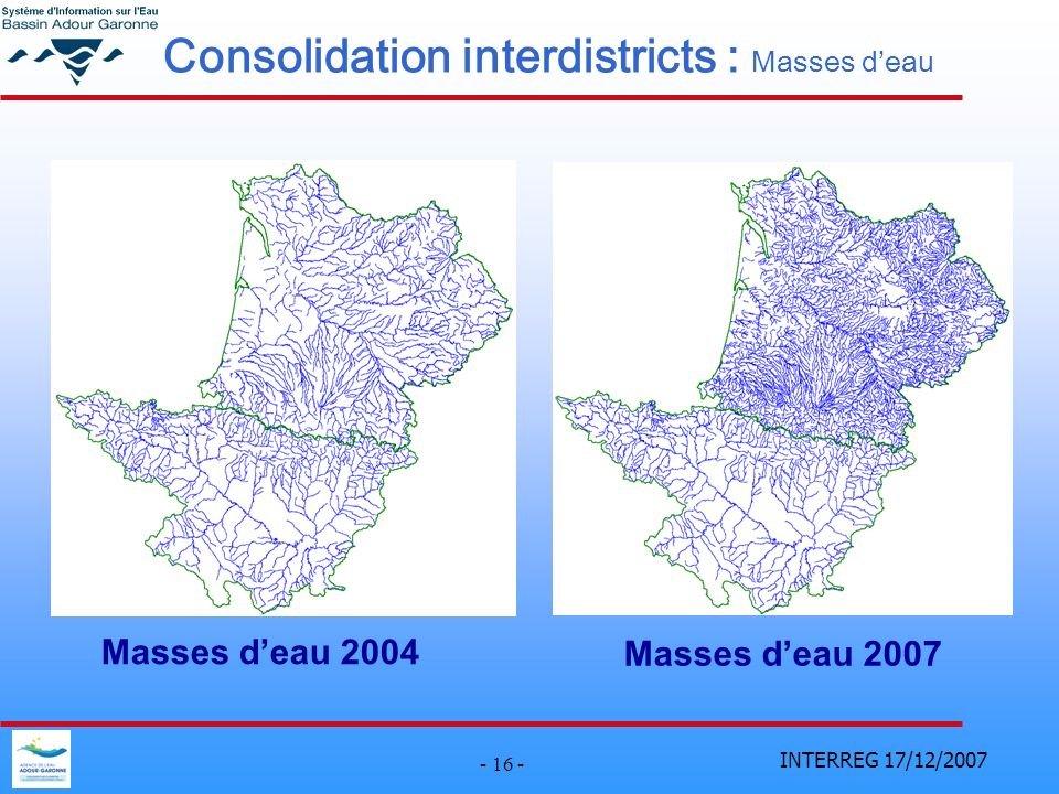 Consolidation interdistricts : Masses d'eau