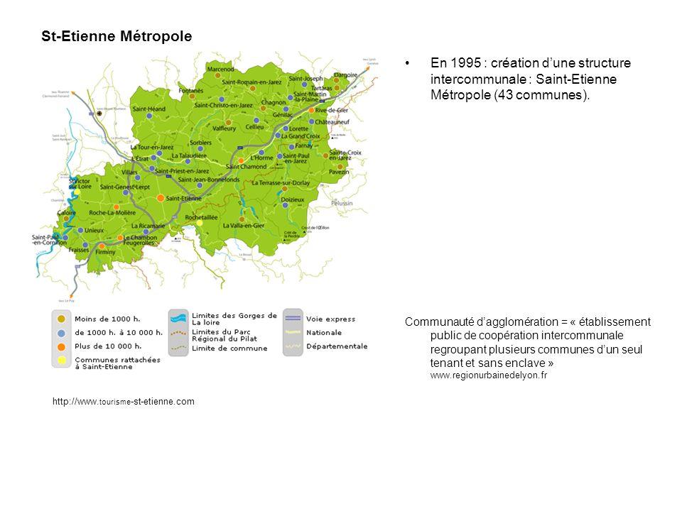 St-Etienne Métropole En 1995 : création d'une structure intercommunale : Saint-Etienne Métropole (43 communes).
