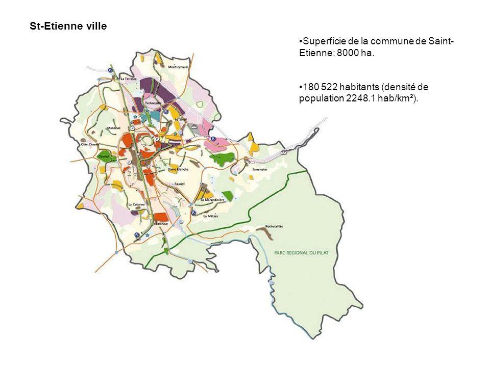 St-Etienne ville Superficie de la commune de Saint-Etienne: 8000 ha.