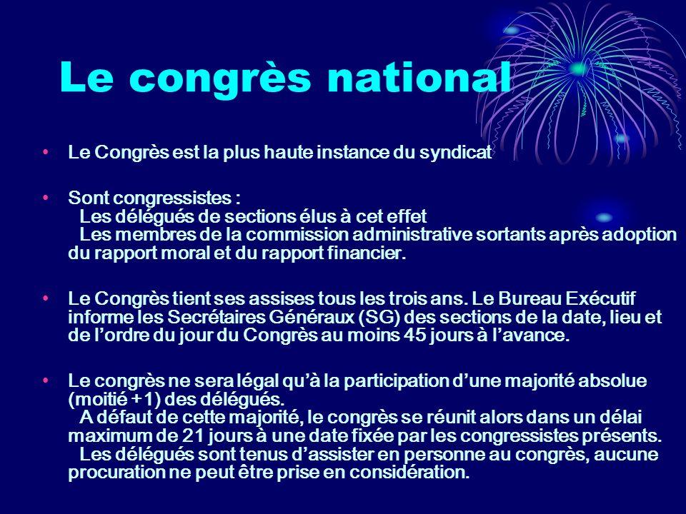 Le congrès national Le Congrès est la plus haute instance du syndicat