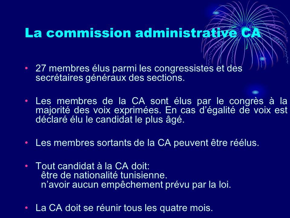 La commission administrative CA