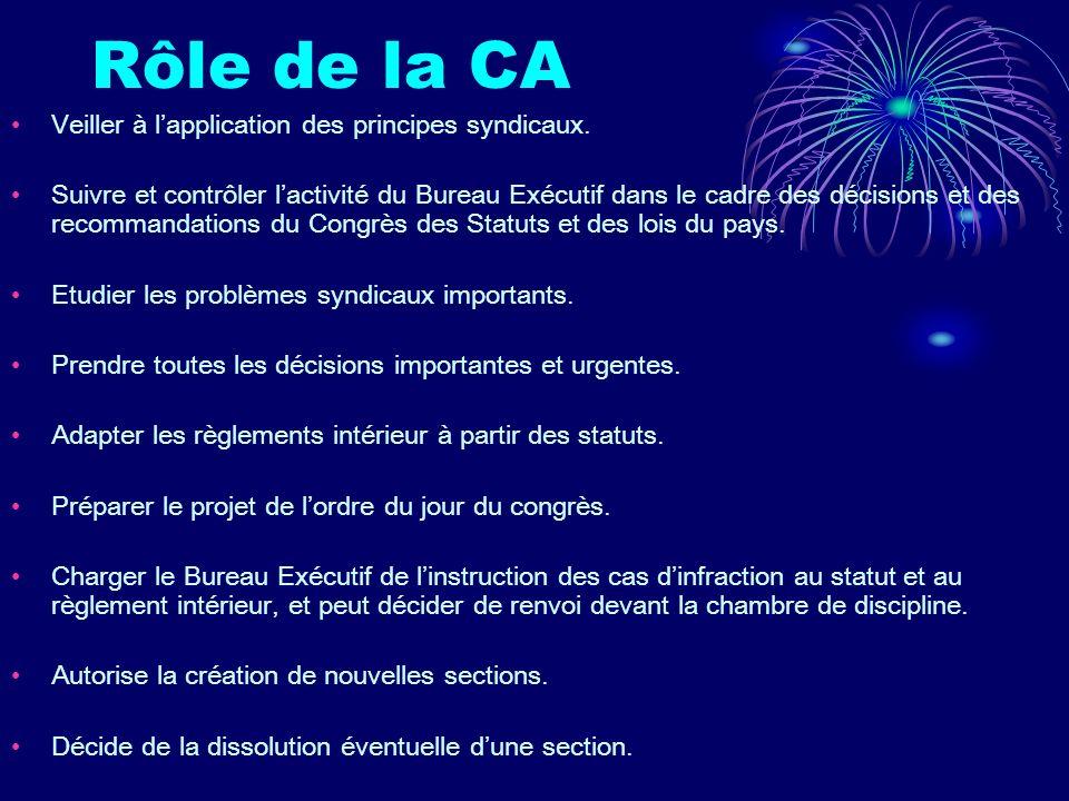 Rôle de la CA Veiller à l'application des principes syndicaux.