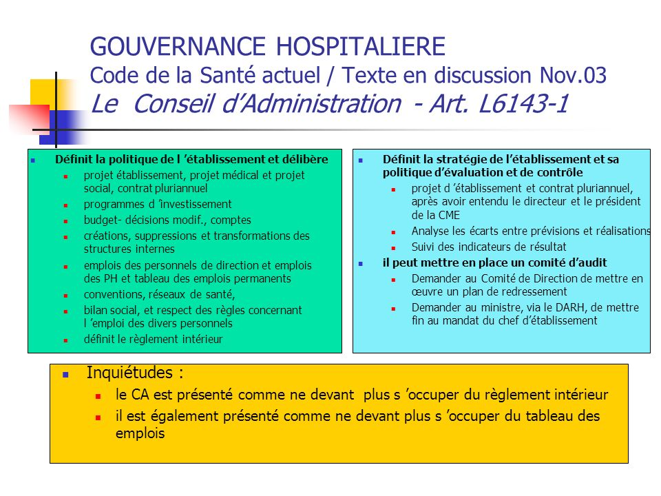 GOUVERNANCE HOSPITALIERE Code de la Santé actuel / Texte en discussion Nov.03 Le Conseil d'Administration - Art. L6143-1
