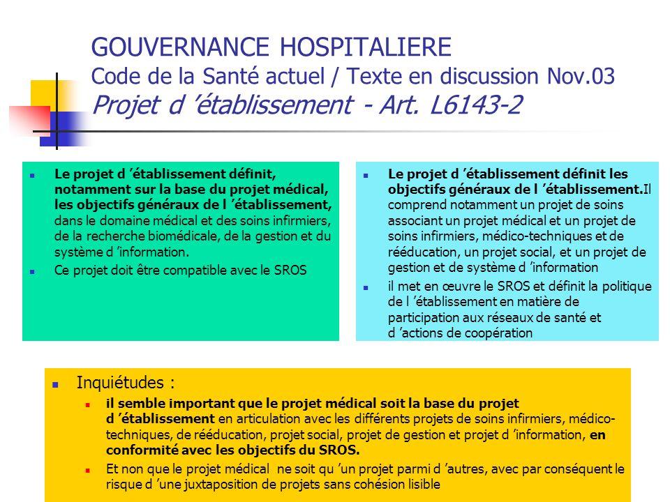 GOUVERNANCE HOSPITALIERE Code de la Santé actuel / Texte en discussion Nov.03 Projet d 'établissement - Art. L6143-2