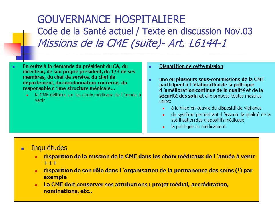 GOUVERNANCE HOSPITALIERE Code de la Santé actuel / Texte en discussion Nov.03 Missions de la CME (suite)- Art. L6144-1