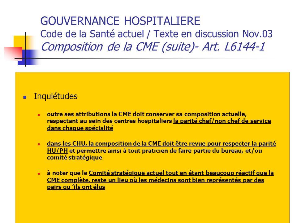 GOUVERNANCE HOSPITALIERE Code de la Santé actuel / Texte en discussion Nov.03 Composition de la CME (suite)- Art. L6144-1