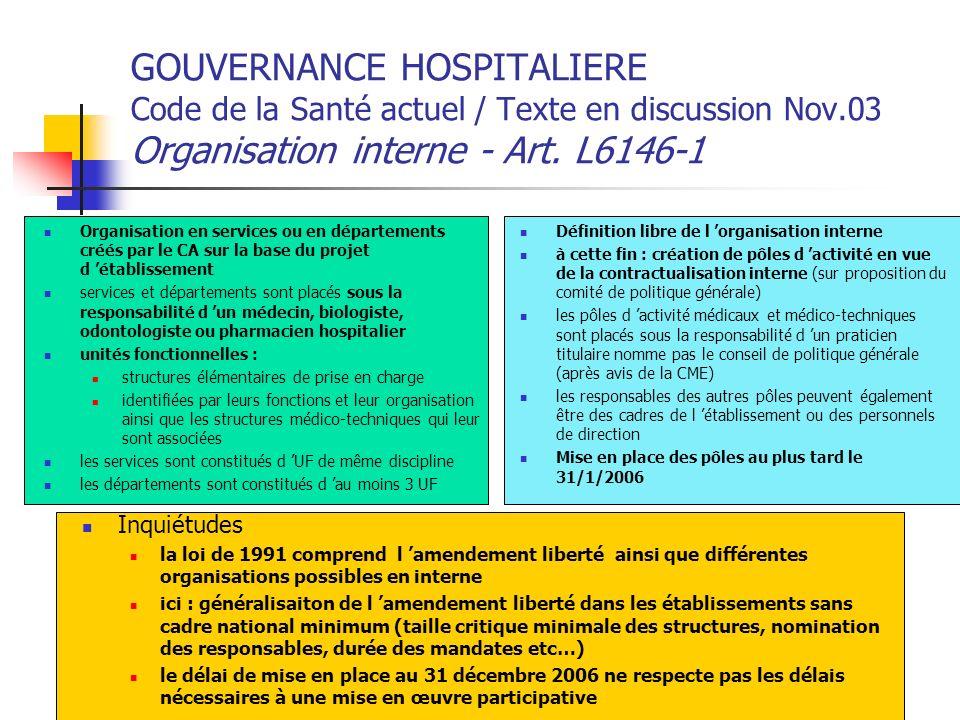 GOUVERNANCE HOSPITALIERE Code de la Santé actuel / Texte en discussion Nov.03 Organisation interne - Art. L6146-1
