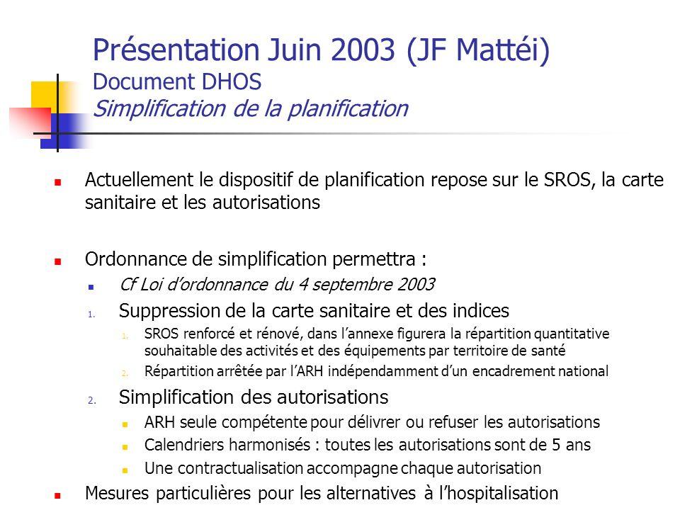 Présentation Juin 2003 (JF Mattéi) Document DHOS Simplification de la planification