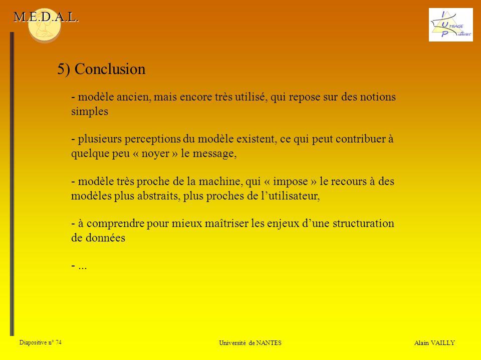 M.E.D.A.L. 5) Conclusion. - modèle ancien, mais encore très utilisé, qui repose sur des notions simples.
