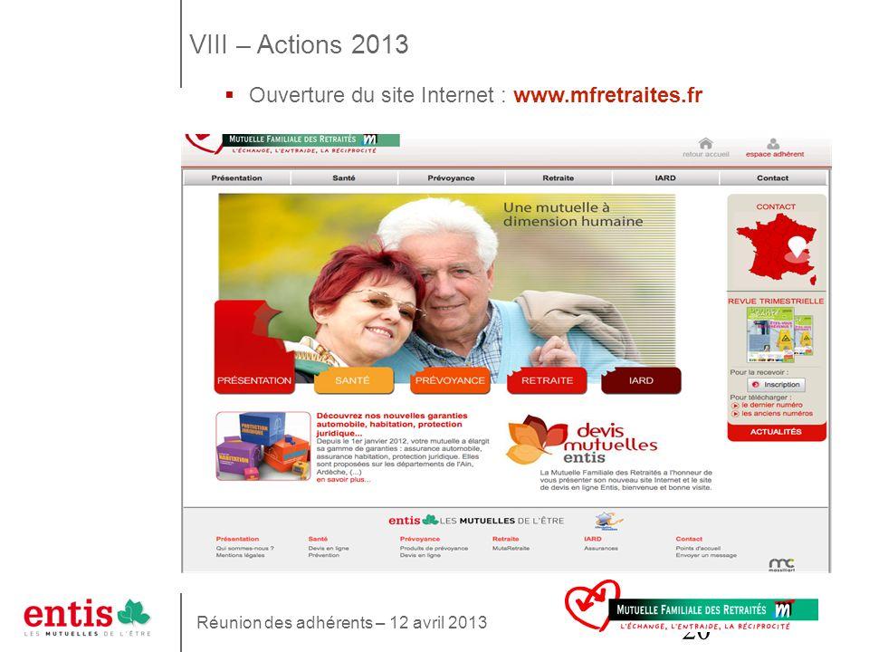 20 VIII – Actions 2013 Ouverture du site Internet : www.mfretraites.fr