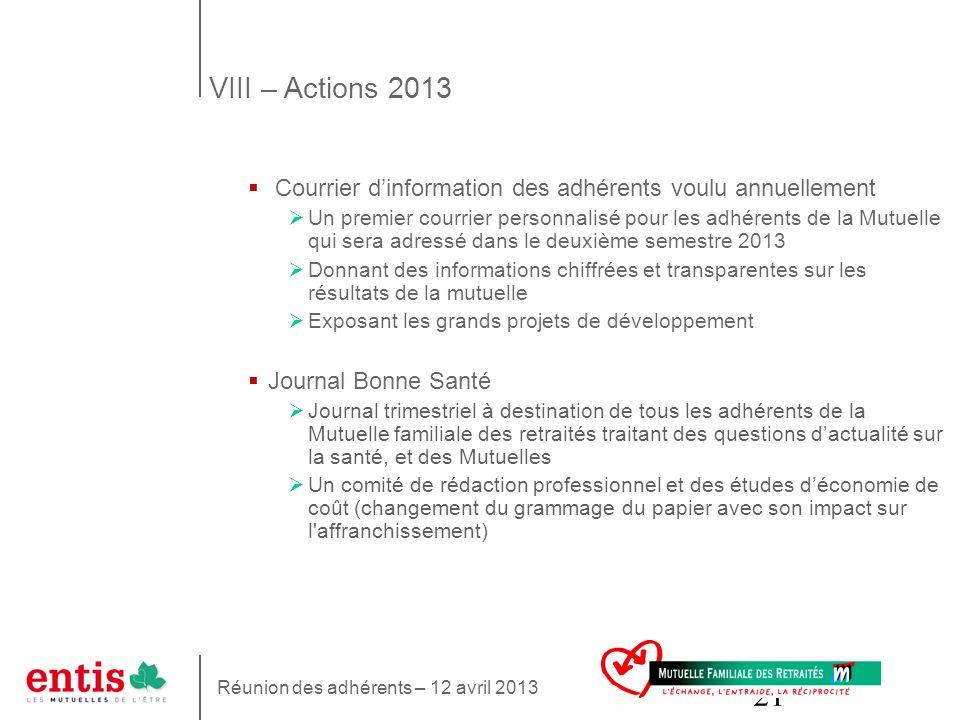 VIII – Actions 2013 Courrier d'information des adhérents voulu annuellement.