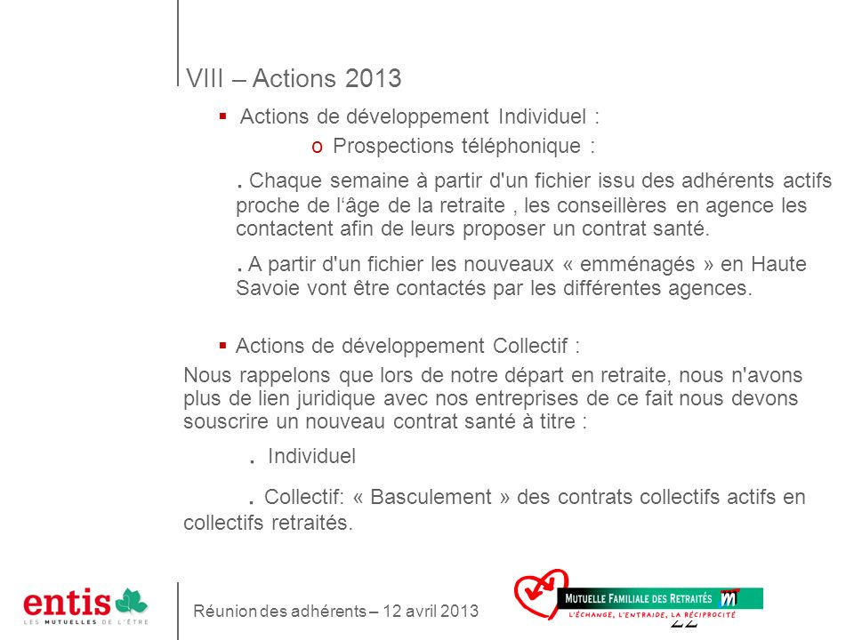 VIII – Actions 2013 Actions de développement Individuel : Prospections téléphonique :