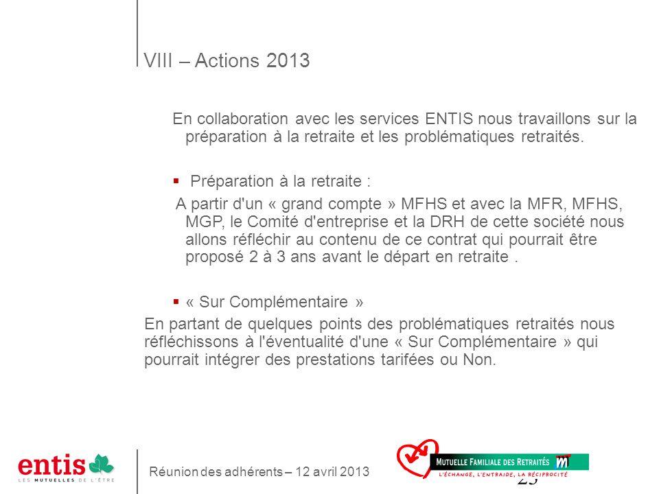 VIII – Actions 2013 En collaboration avec les services ENTIS nous travaillons sur la préparation à la retraite et les problématiques retraités.