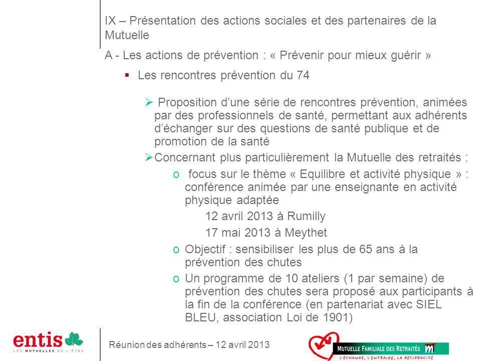 IX – Présentation des actions sociales et des partenaires de la Mutuelle A - Les actions de prévention : « Prévenir pour mieux guérir »