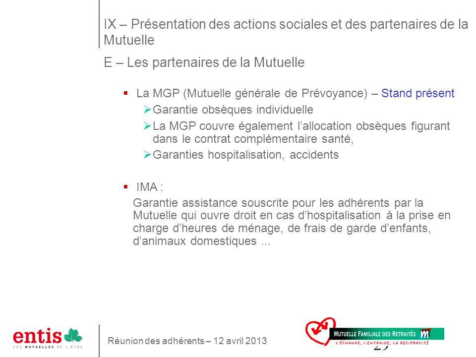 IX – Présentation des actions sociales et des partenaires de la Mutuelle E – Les partenaires de la Mutuelle