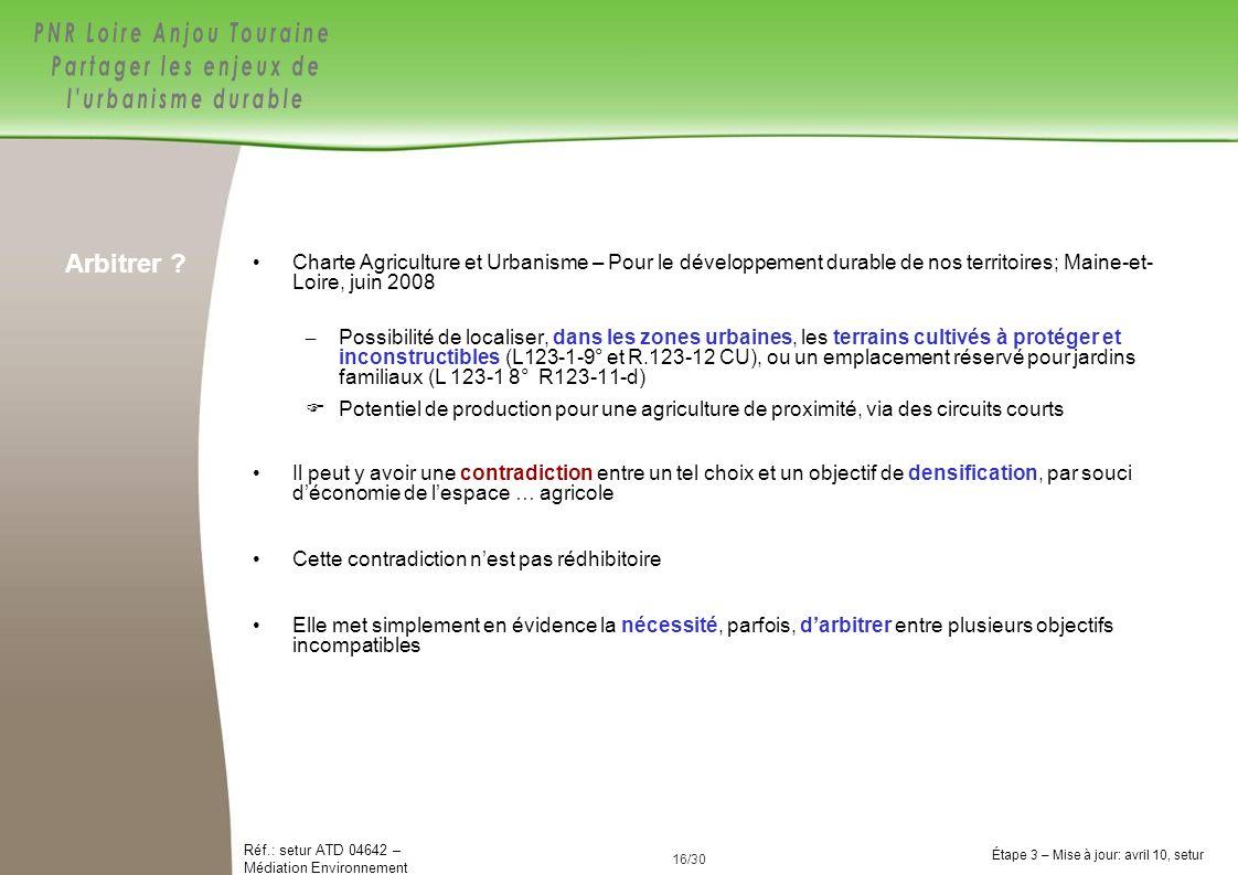 Arbitrer Charte Agriculture et Urbanisme – Pour le développement durable de nos territoires; Maine-et- Loire, juin 2008.