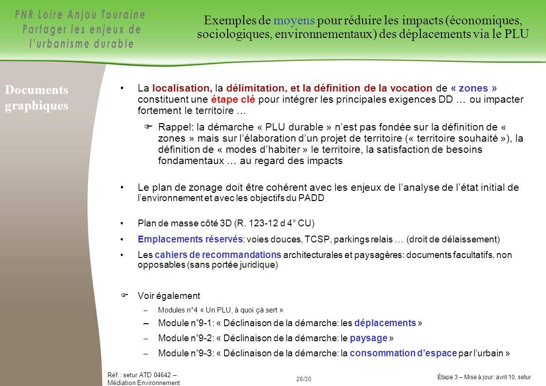 Exemples de moyens pour réduire les impacts (économiques, sociologiques, environnementaux) des déplacements via le PLU