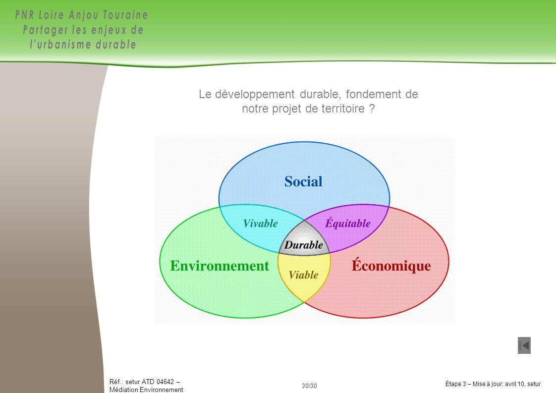 Le développement durable, fondement de notre projet de territoire