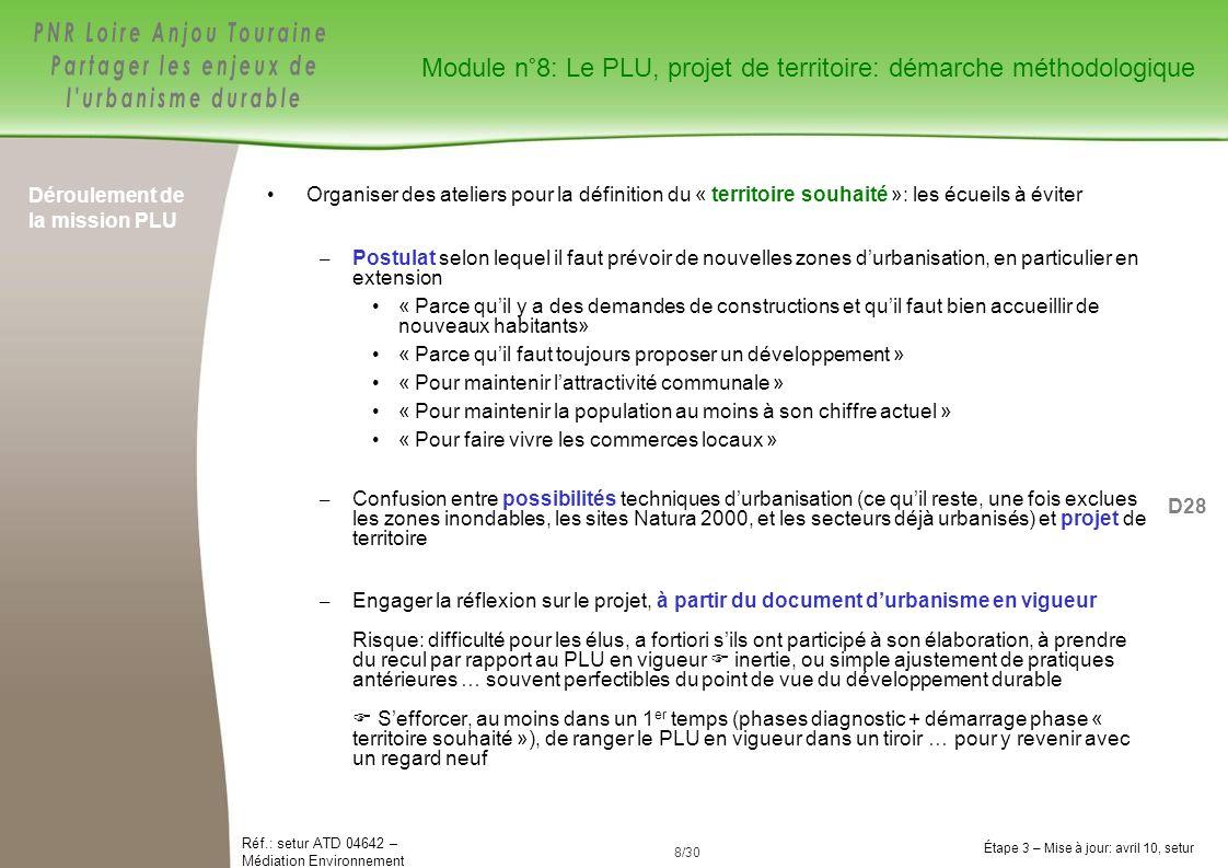 Module n°8: Le PLU, projet de territoire: démarche méthodologique