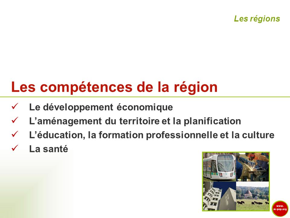 Les compétences de la région