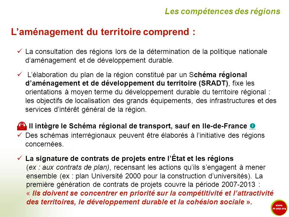 L'aménagement du territoire comprend :
