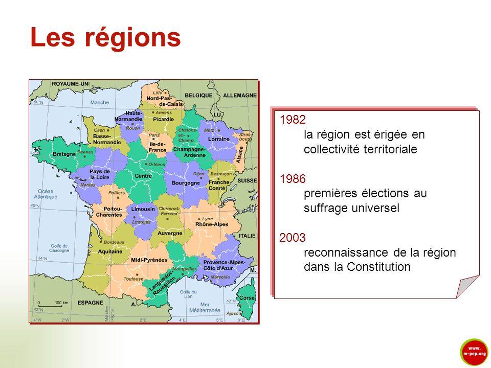 Les régions 1982 la région est érigée en collectivité territoriale