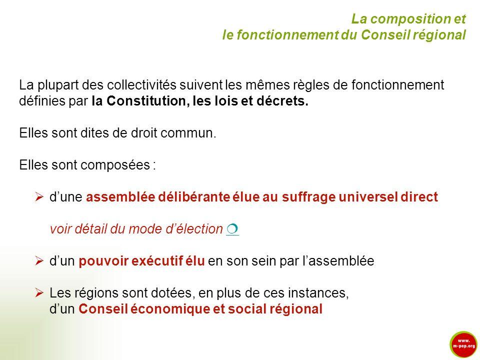 La composition et le fonctionnement du Conseil régional. La plupart des collectivités suivent les mêmes règles de fonctionnement.