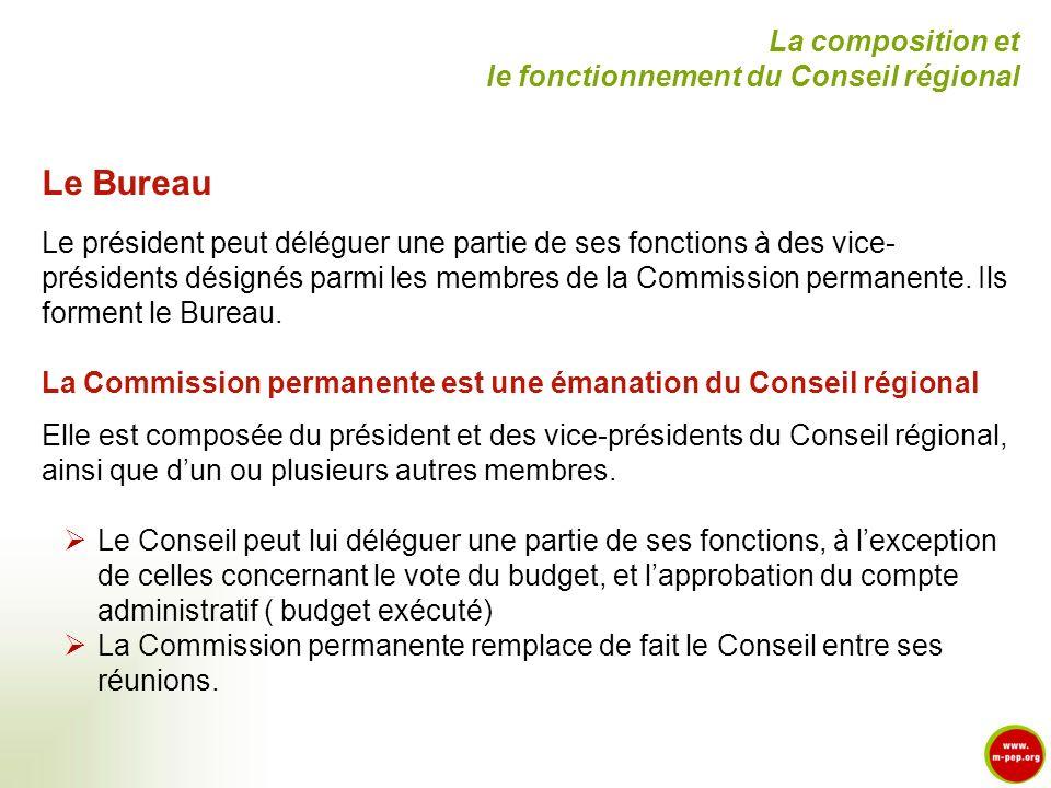 Le Bureau La composition et le fonctionnement du Conseil régional