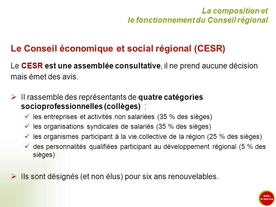 Le Conseil économique et social régional (CESR)