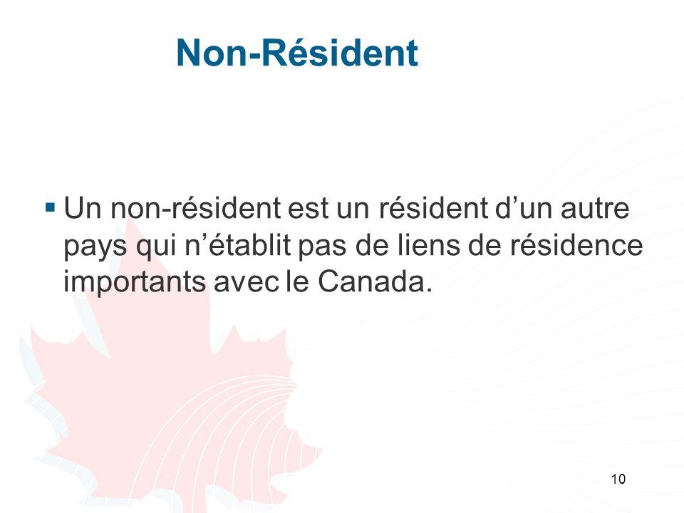 Non-Résident Un non-résident est un résident d'un autre pays qui n'établit pas de liens de résidence importants avec le Canada.
