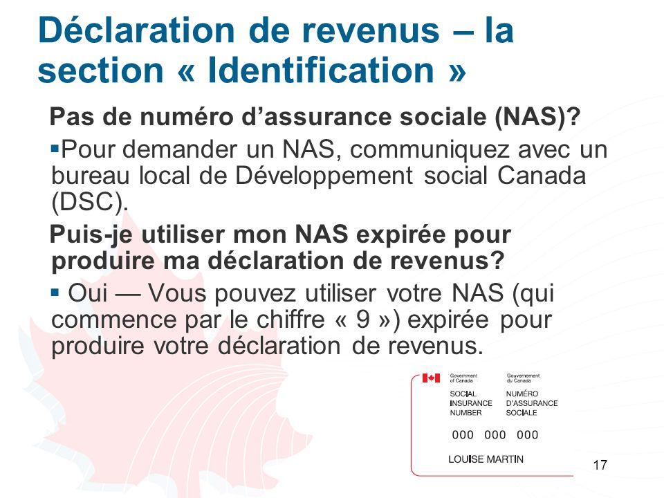Déclaration de revenus – la section « Identification »