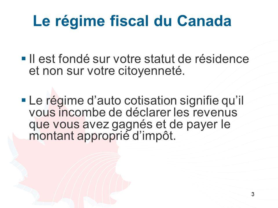 Le régime fiscal du Canada