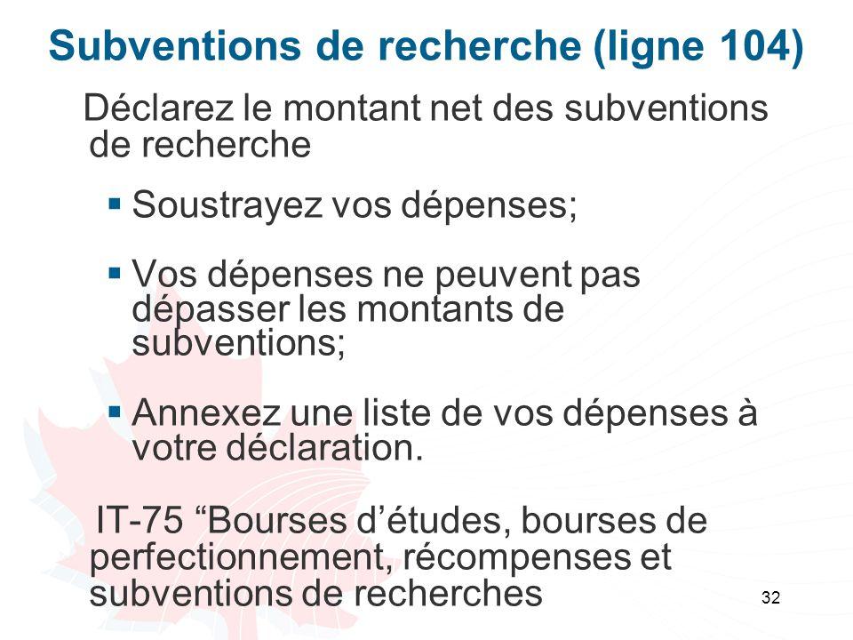 Subventions de recherche (ligne 104)