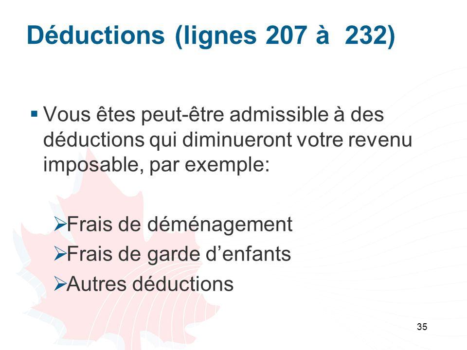 Déductions (lignes 207 à 232) Vous êtes peut-être admissible à des déductions qui diminueront votre revenu imposable, par exemple: