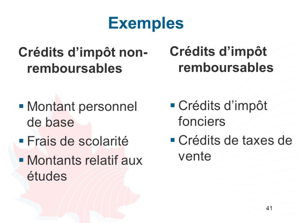 Exemples Crédits d'impôt non-remboursables
