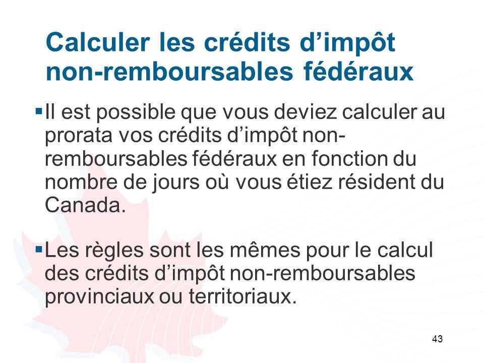 Calculer les crédits d'impôt non-remboursables fédéraux