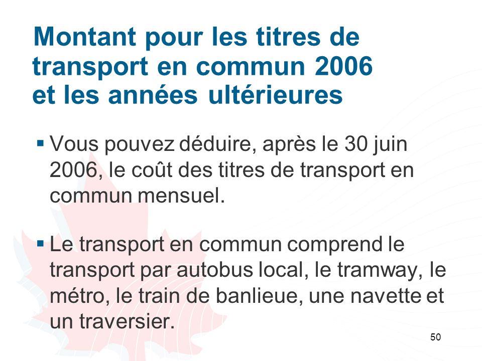 Montant pour les titres de. transport en commun 2006